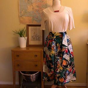J. Crew Postcard Print Button-Up A-Line Skirt